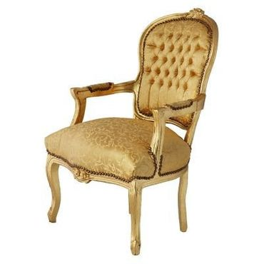 Bedroom chair in gold with lovely floral pattern, gold-leafed wood frame – image 2