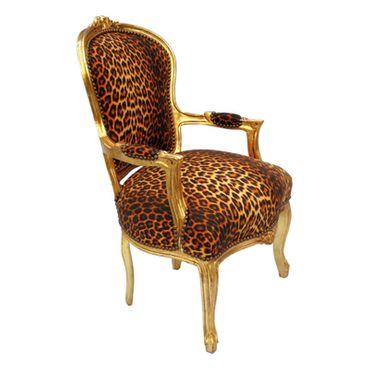 Lounge Sitzgruppe Leoparden Muster Stoffbezug Polstermöbel 2er Set Barock Stühle – Bild 4