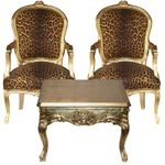 Wild Cat ArmchairSalon Furniture set 2 chairs + Coffee Table
