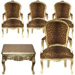 African Style Salon Wild Cat Print Armchair x4 + Gold 80x80 Coffee Table Hand Crafted