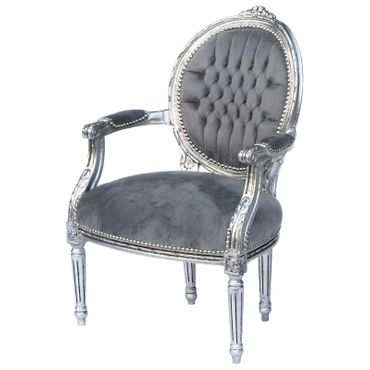 Baroque Style Dining Room Chair Armrest Silver Wood Frame Grey Velvet Cushions – image 2