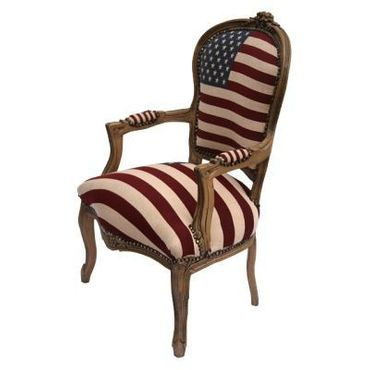 American Flag Baroque Armchair Brown Hand Crafted Wood Frame – image 2