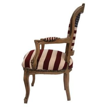 American Flag Baroque Armchair Brown Hand Crafted Wood Frame – image 3