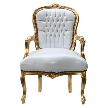 Accent Chair BONI - white synthetic leather and golden frame – image 1