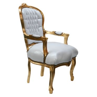 Accent Chair BONI - white synthetic leather and golden frame – image 4