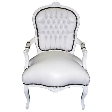Arm chair, antique replica, accent, side-chair in white Faux-leather, solid wood – image 1