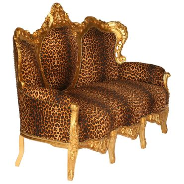 Baroque Style Living Room Sofa Gold Wood Frame Leopard Print Cushions – image 2
