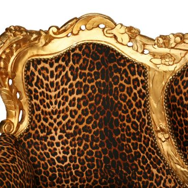 Baroque Style Living Room Sofa Gold Wood Frame Leopard Print Cushions – image 5