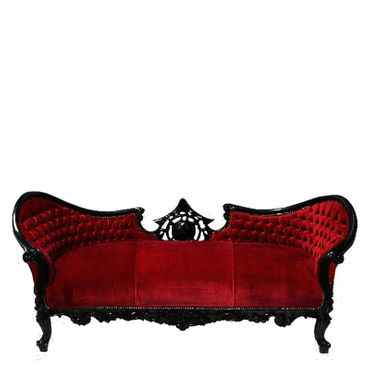 Classy Red Win Velvet Cushions Sofa with Black Solid Wood Frame Baroque Furniture