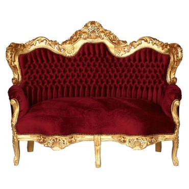 3 Seater Sofa Deep Red Velvet Golden Carved Wood Frame – image 1