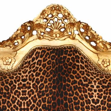 Baroque Style Sofa Leopard Print Gold Wood Frame – image 4