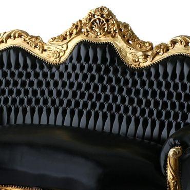 Classy 3 Seater Sofa BLack Leatherette Golden Wood Frame – image 3