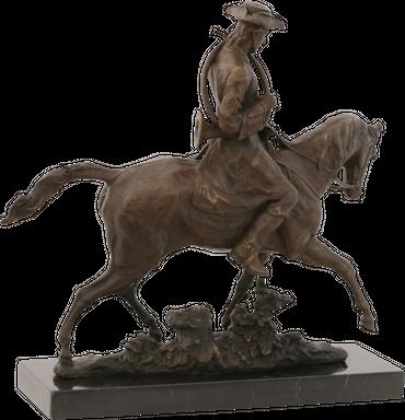 Cavalry rider Louis XV horse bronze sculpture statue bugler tricorn repro – image 4