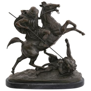 Predator lion bronze sculpture hunting with spear horse statue art figure – image 1