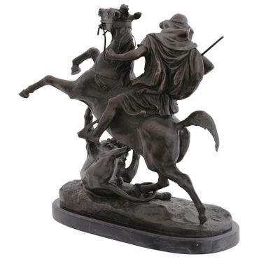 Predator lion bronze sculpture hunting with spear horse statue art figure – image 4