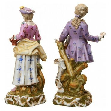 2 piece set porcelain figure baroque rokoko man wife collector – image 4