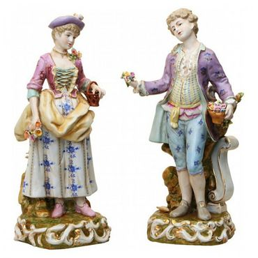2 piece set porcelain figure baroque rokoko man wife collector – image 1