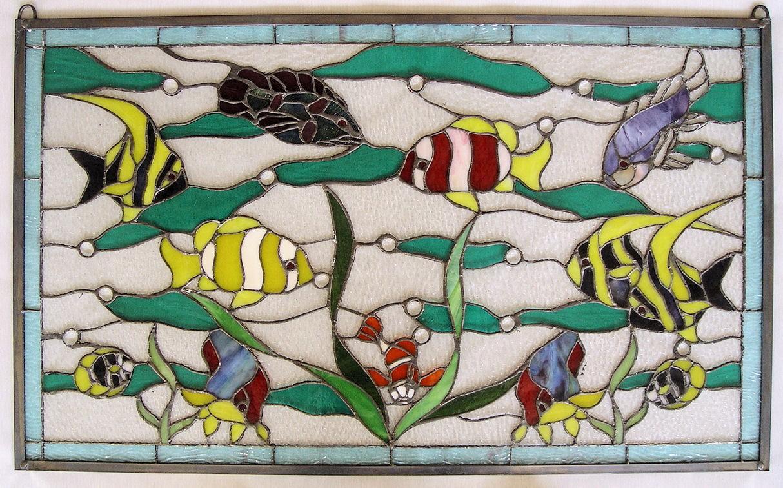 Glasschild glasplatte motiv aquarium fische unterwasser for Aquarium fische im teich