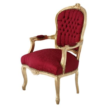 Bedroom furniture, chair in lovely red with floral pattern, gold-leafed wood frame – image 2