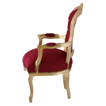 Bedroom furniture, chair in lovely red with floral pattern, gold-leafed wood frame – image 3