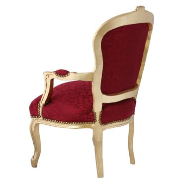Bedroom furniture, chair in lovely red with floral pattern, gold-leafed wood frame – image 4