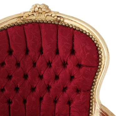 Bedroom furniture, chair in lovely red with floral pattern, gold-leafed wood frame – image 5