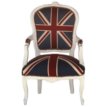 Bedroom chairs, side chair with antique-beige frame in Jack Union print  – image 1