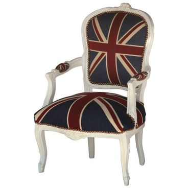 Bedroom chairs, side chair with antique-beige frame in Jack Union print  – image 2