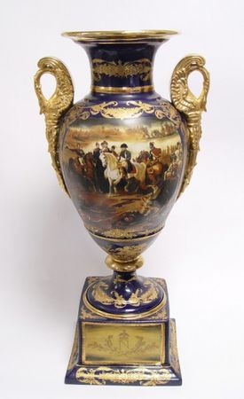 Big porcelain vase napoleon magnificent blue gold ornaments decoration accessory