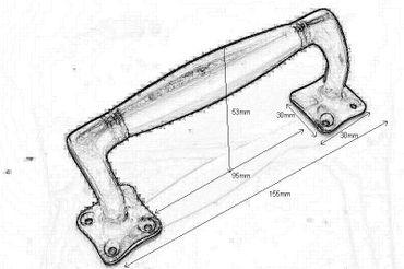 Bakelite handle retro design polished brass sliding door handle antique – image 2