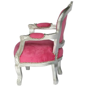 Child size Armchair Silver Wood Frame Pink Velvet Cushions Bedroom Furniture – image 3