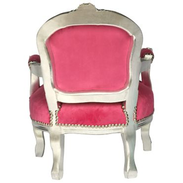 Child size Armchair Silver Wood Frame Pink Velvet Cushions Bedroom Furniture – image 4