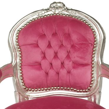 Child size Armchair Silver Wood Frame Pink Velvet Cushions Bedroom Furniture – image 5