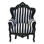 Barock Thron Sessel schwarz weiß gestreift Design Möbel 001