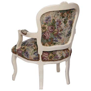 Rosen Blumenmuster Lehnstuhl antikweiß Barock Salonstuhl Lounge Stuhl weiß – Bild 4
