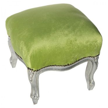 Chic Green Velvet and Silver Wood Footstool Hand Carved – image 4