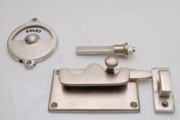 Bathroom door lock toilette shiny brass rotating bolt metal mount – image 1