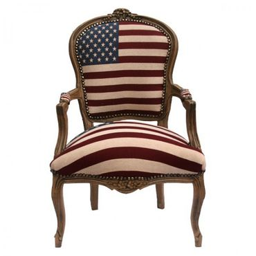 American Flag Baroque Armchair Brown Hand Crafted Wood Frame – image 1