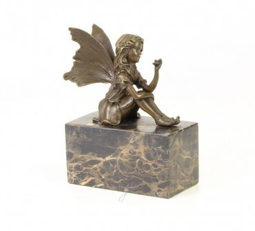Fee Elfe m. Schmetterling Bronze Skulptur Figur Frau Flügel Romantik Marmorblock – Bild 3