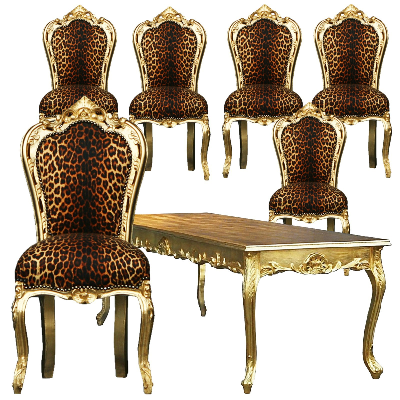 esszimmertisch mit st hlen barockm bel speisezimmer antik 7er set leopard gold. Black Bedroom Furniture Sets. Home Design Ideas