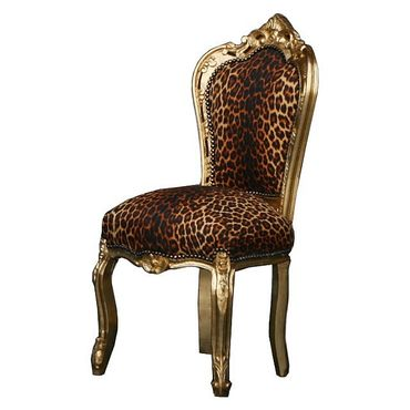 Beautiful Leopard Print Gold Table + 6 Dining Room Chairs  – image 2