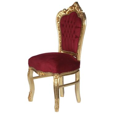 Beautiful Set of 6 Baroque Style Dining Room Chairs Red Velvet Gold Table – image 3