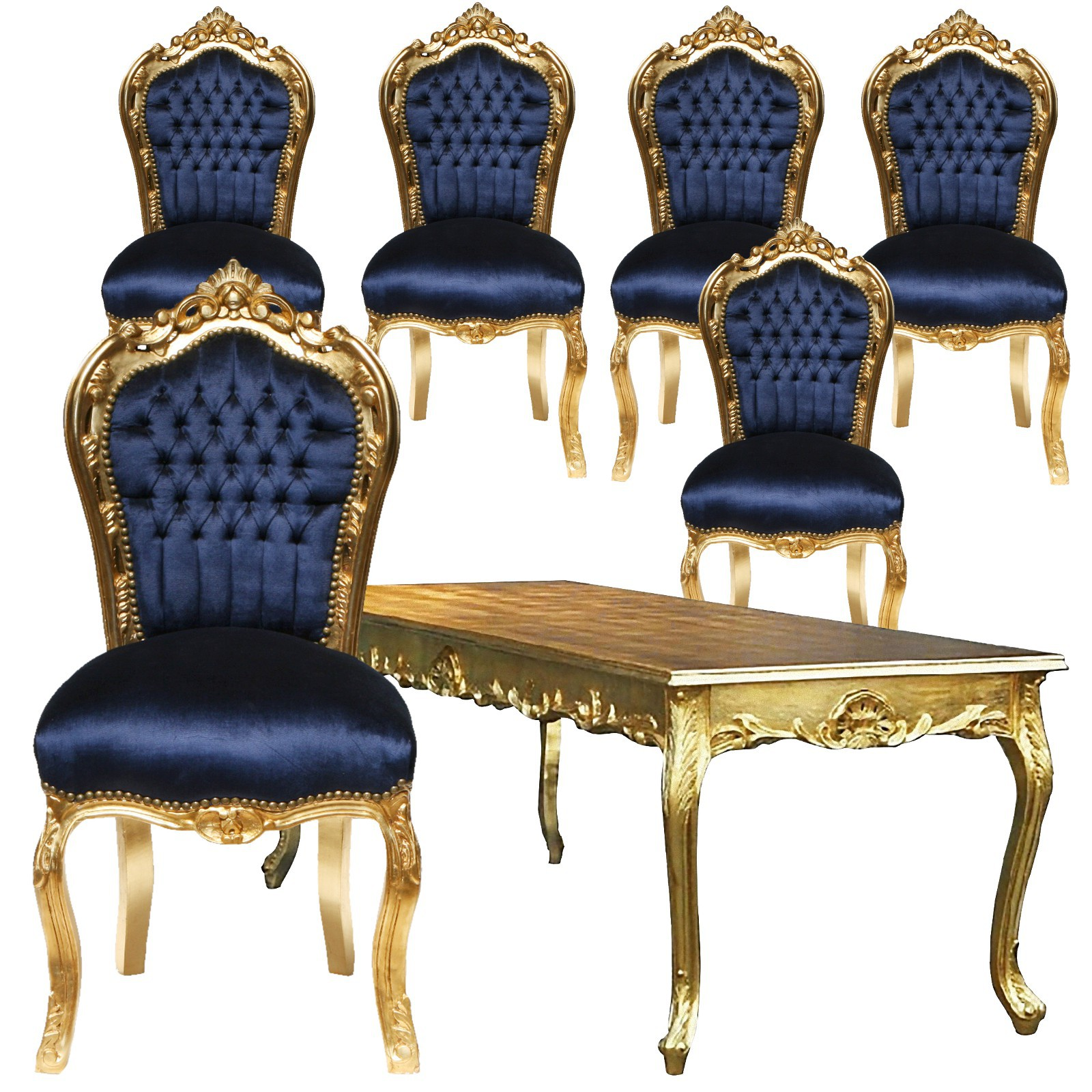 tisch stuhl massivholz set angebot barockm bel esszimmer top setpreis blau gold. Black Bedroom Furniture Sets. Home Design Ideas