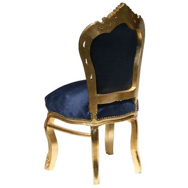 Beautiful Dark Blue Velvet Golden Hand Crafted Frame 6 Chairs + Table – image 2