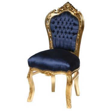 Beautiful Dark Blue Velvet Golden Hand Crafted Frame 6 Chairs + Table – image 3