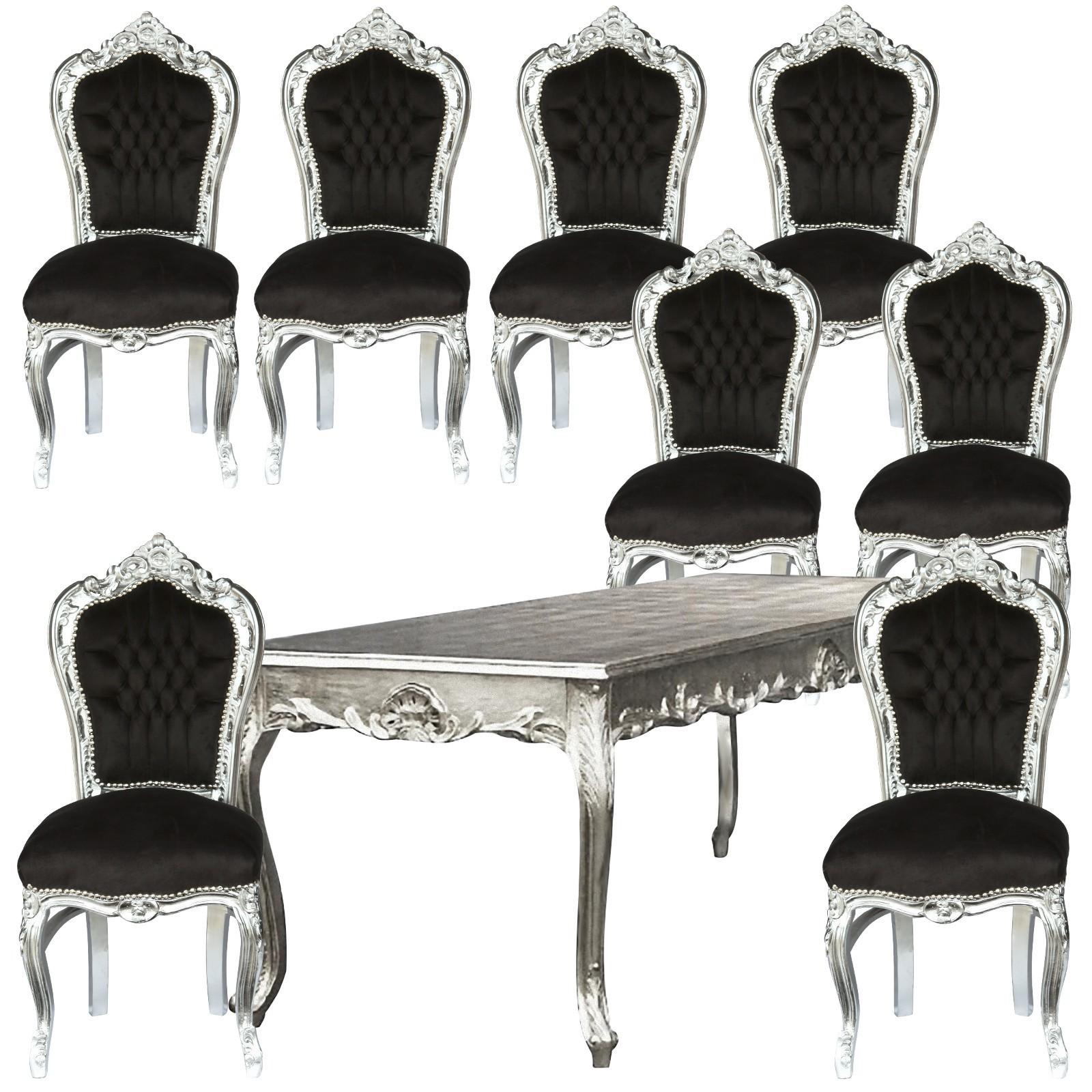 Beeindruckend Esstisch Stühle Schwarz Sammlung Von Set Barockstühle Esszimmer Silber Angebot Tisch 8