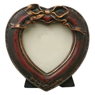 Portrait picture frame heart shaped red antique baroque shabby design – image 1
