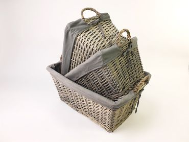 3 piece set dark picnic baskets grey material spacious – image 2