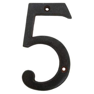 Antique black iron house number 5 house home – image 1