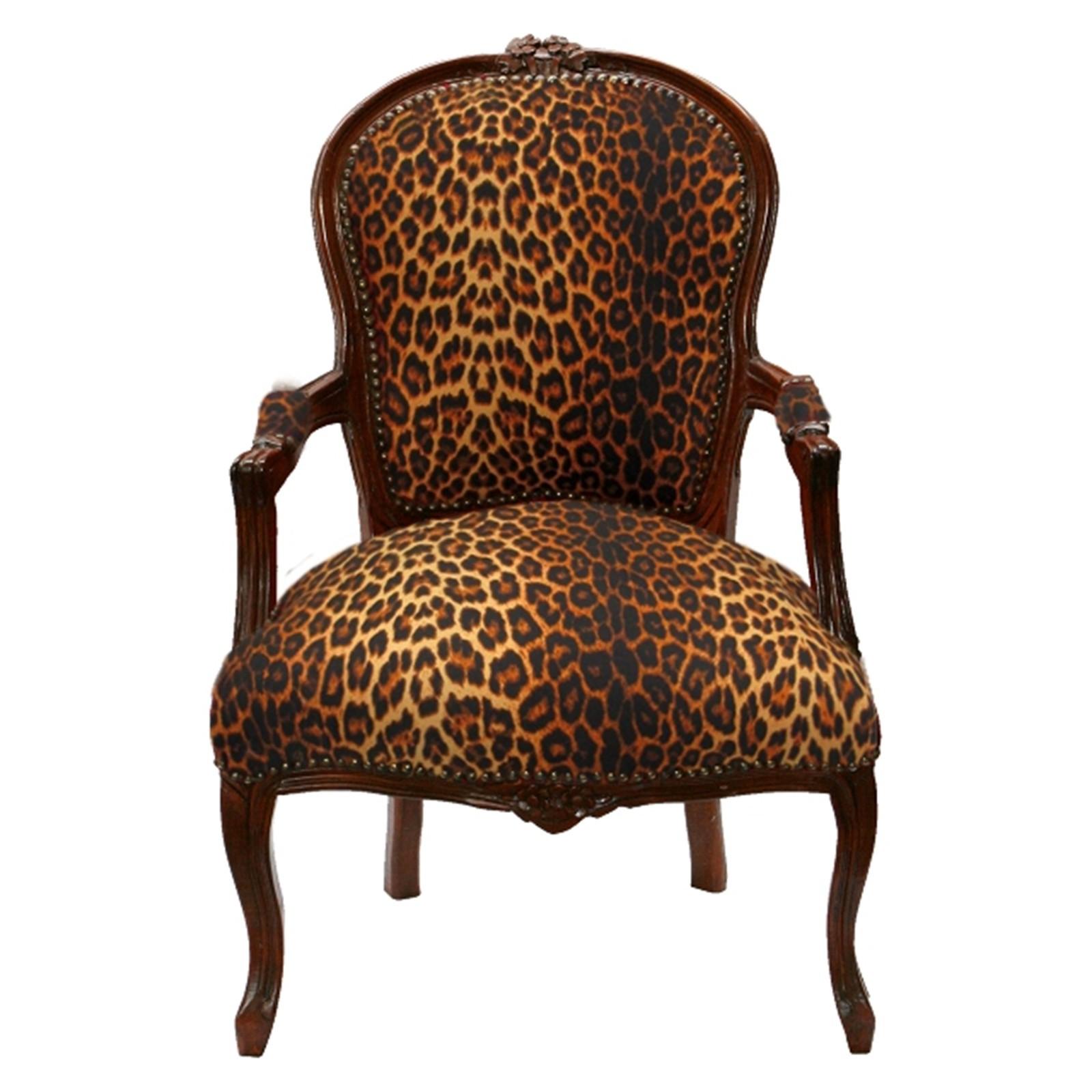 leoparden brauner antiker barock stuhl salon stuhl safari look gepolstert. Black Bedroom Furniture Sets. Home Design Ideas